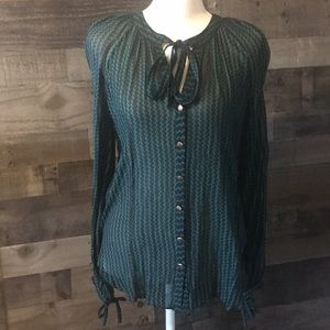 Maeve sheer tie top chiffon blouse